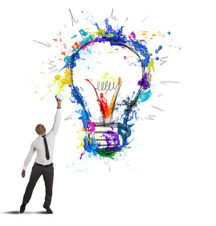 Photo for Concept of creative business idea with drawing businessman - Royalty Free Image