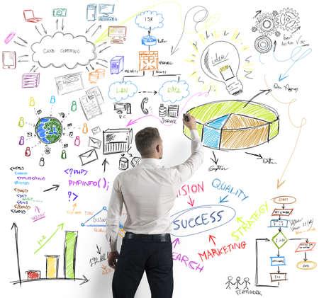Photo pour Businessman drawing modern business concept - image libre de droit