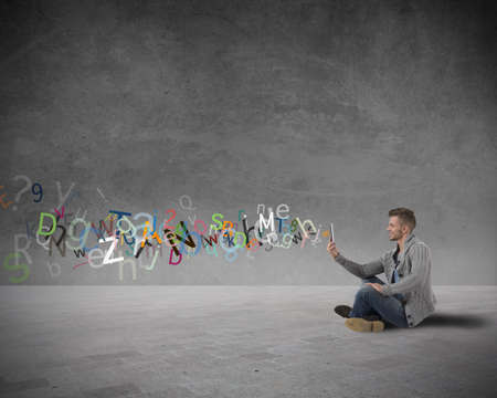 Photo for Boy with tablet and internet and social network concept - Royalty Free Image