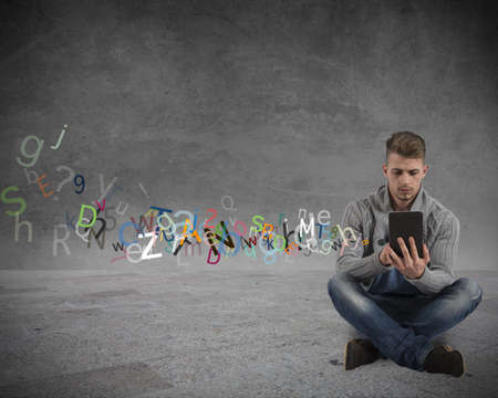 Boy with tablet and internet and social network concept