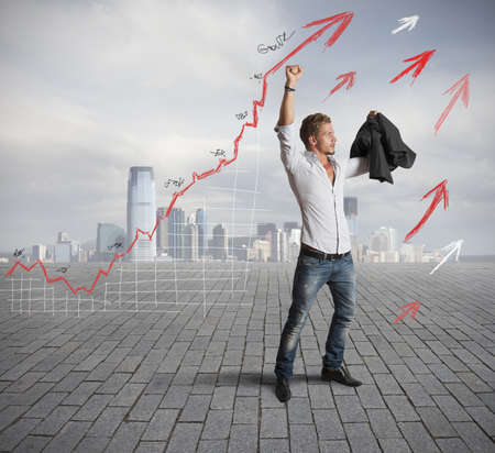 Successful businessman with positive statistical trend