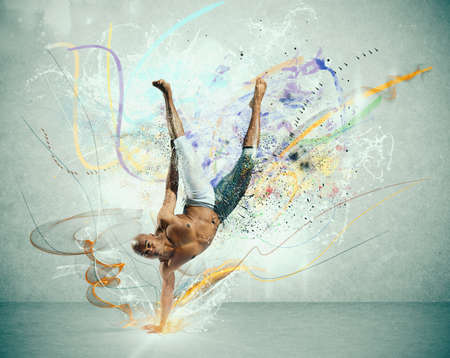 Modern dance with colorful motion effect