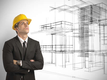 Architect thinking a new project of modern buildings