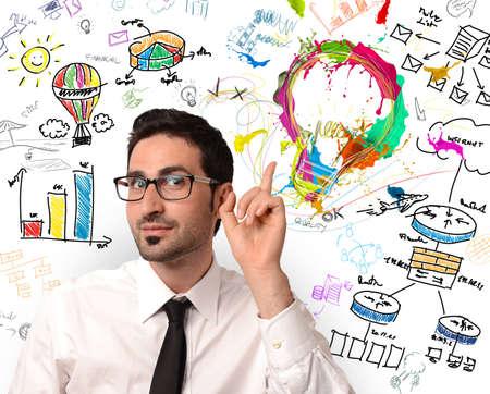 Foto de Businessman with new creative business idea - Imagen libre de derechos