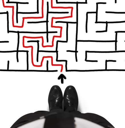 Concept of difficulty with businessman and maze