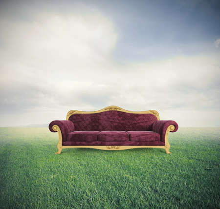 Concept of relax and comfort with a velvet red sofa in a green field