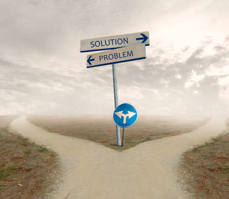 Crossroad with signal of problem and solution way