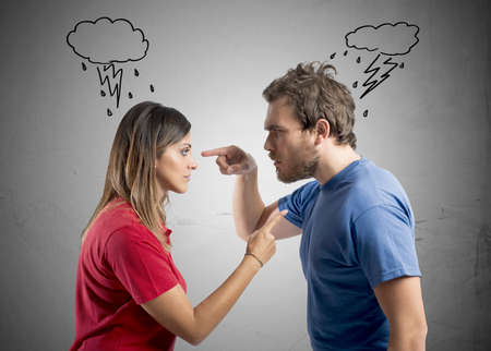 Concept of discussion between husband and wife