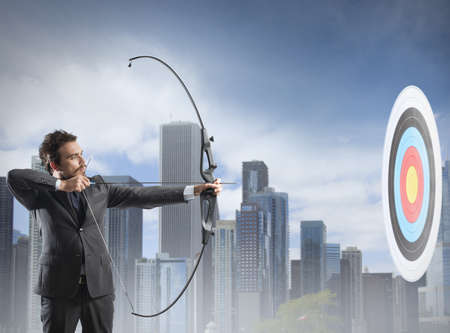 Concept of determination in business with bow and arrow