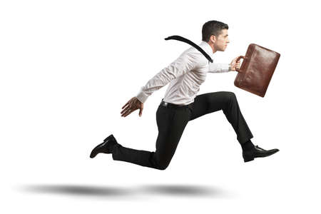 Concept of stress in business with running businessman