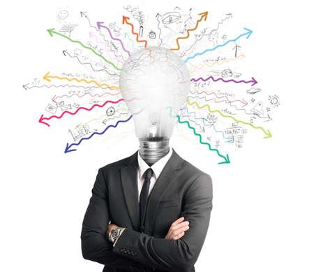 Concept of genius with illuminated light bulb in head