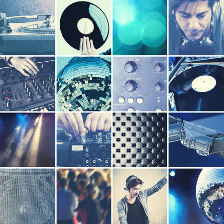 Collage of DJ at work that playing music with a mixer
