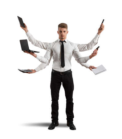 Concept of multitasking with busy businessman at work
