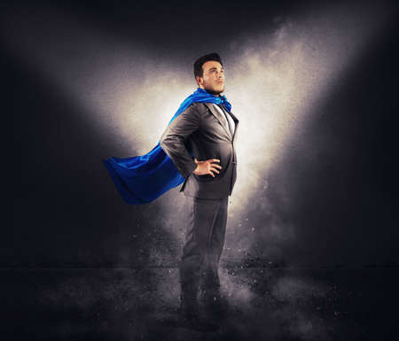 Concept of successful businessman like a super hero