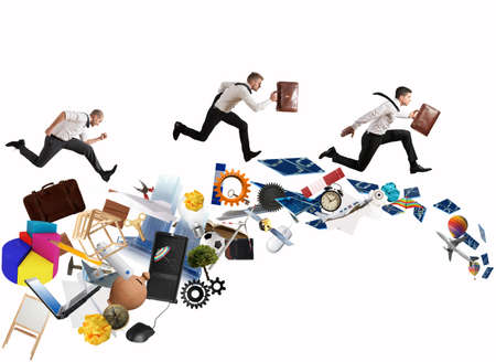 Concept of competitive business with running businessman
