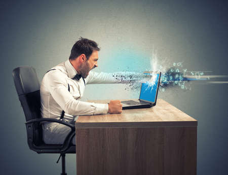 Stress and frustration of a businessman due to computer error