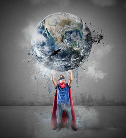 Little superhero saves the world.