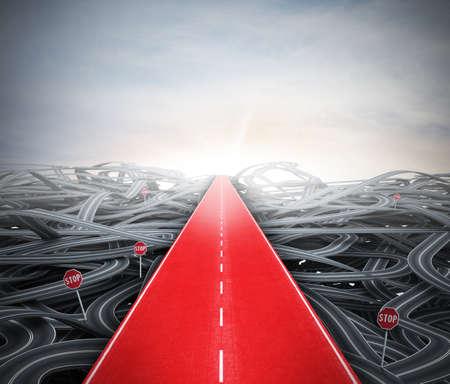 Photo pour Red easy way to success over street confusion - image libre de droit