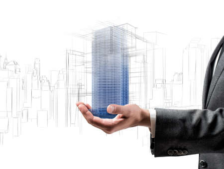 Architect showing a futuristic project of a building