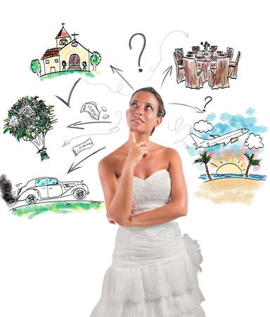 Foto de Woman thinks how to organize her wedding - Imagen libre de derechos