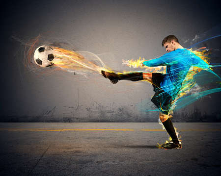 A football player throws fireballs at opponents
