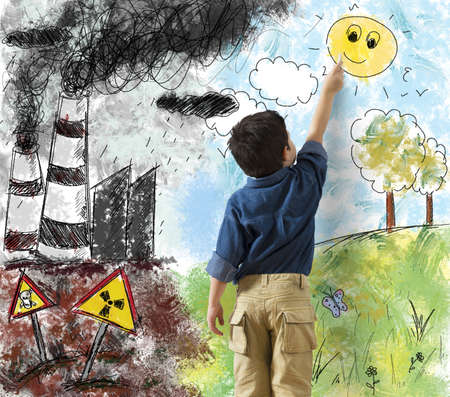 Photo for Child draws the difference in a landscape - Royalty Free Image
