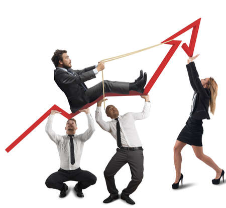 Photo for Business team support the director in his climb - Royalty Free Image