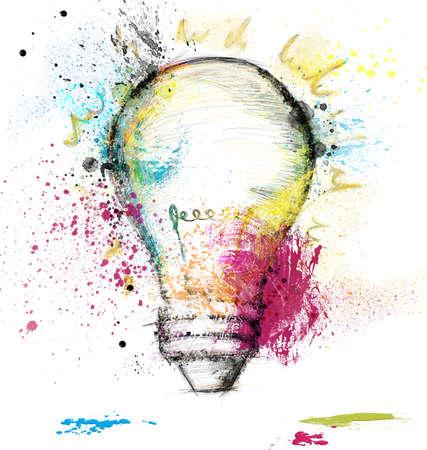 Photo for Paint light bulb symbol of smart idea - Royalty Free Image