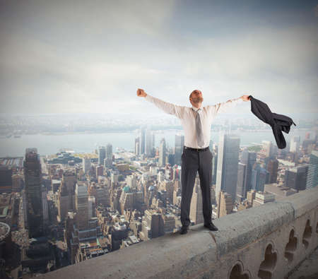 Photo for Ambitious businessman arrived at the success peak - Royalty Free Image
