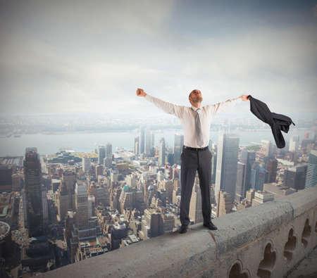 Foto de Ambitious businessman arrived at the success peak - Imagen libre de derechos