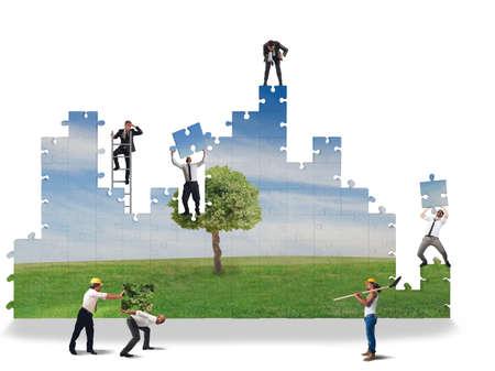 Photo pour Work together to build a clean world - image libre de droit