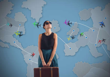 Photo pour Globetrotting woman looking for a new destination - image libre de droit
