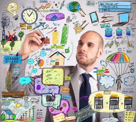 Businessman design an ingenious ecological improvement plan