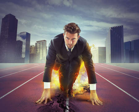 Fiery and determined businessman ready to compete