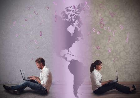 Photo pour Communicate in a distance relationship with internet - image libre de droit
