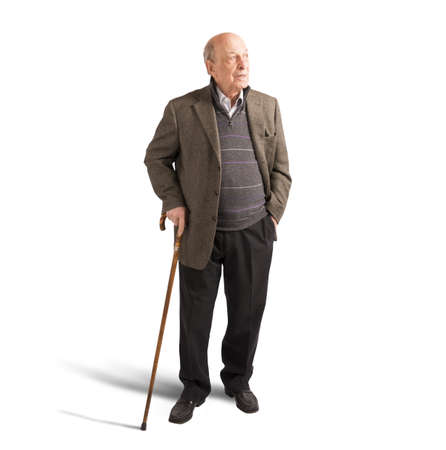 Health elderly man walking with his stick