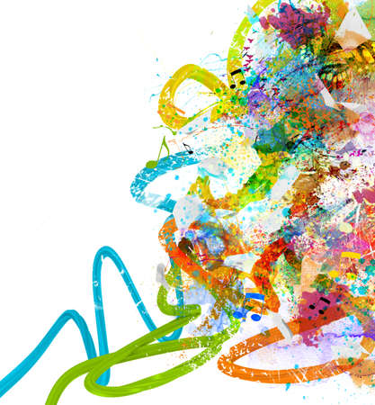 Photo for Music background with colorful sketches and notes - Royalty Free Image