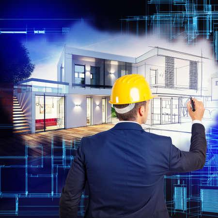 Architect draws the plans for a villa