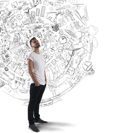 Photo pour Boy reflects on plans and future projects - image libre de droit