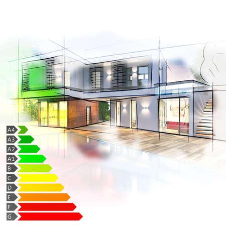 Photo pour Image of a villa graph energy certification - image libre de droit