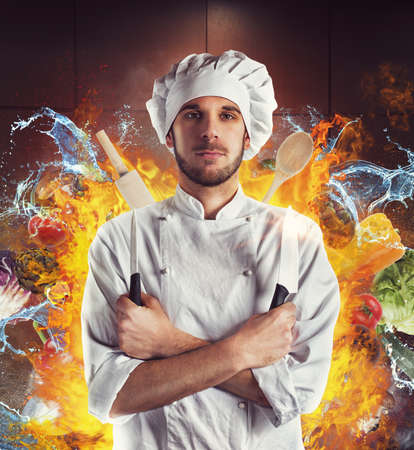 Chef with knives between water and fire