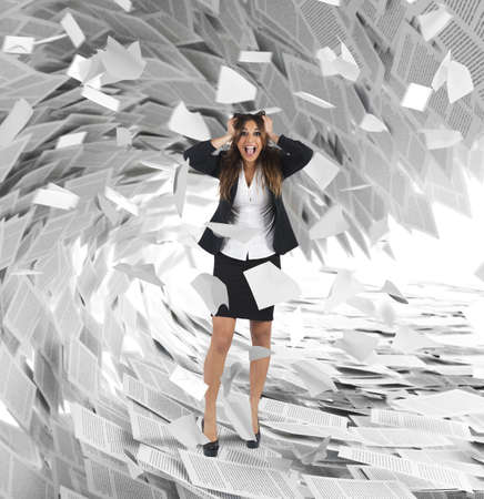 Businesswoman screams with a wave of sheets