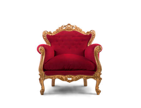 Foto de Concept of luxury and success with red velvet and gold armchair - Imagen libre de derechos