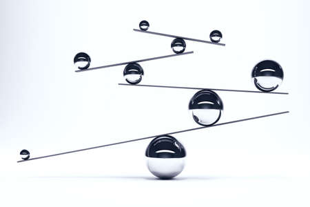Iron balls in perfect balance on boards