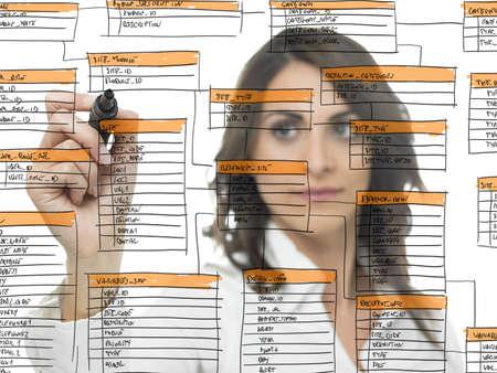 Photo pour Businesswoman works on the database software development - image libre de droit