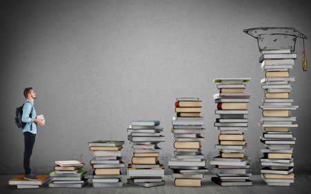 Photo pour Student climbing a ladder of study books - image libre de droit