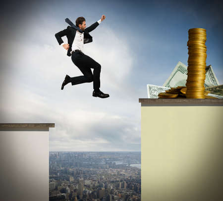 Determined businessman jumps risky to get money