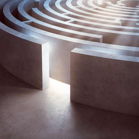 Image of a complicated circular maze lit