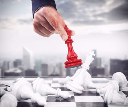 Photo pour Pawn chess red drops the white pawns - image libre de droit