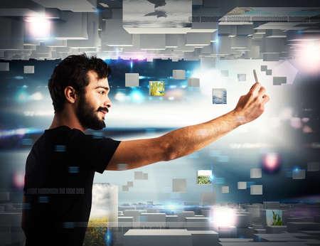 Photo pour Man with cell phone on futuristic background - image libre de droit